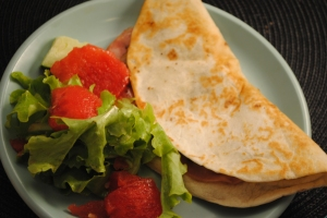 Black-bean and ham quesadilla with watermelon salad